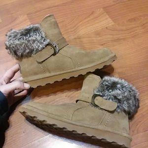 Bearpaw suede faux furry booties